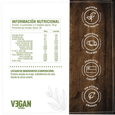 Kit Vegano Proteínas (Natural) + Vitaminas B12 y D2