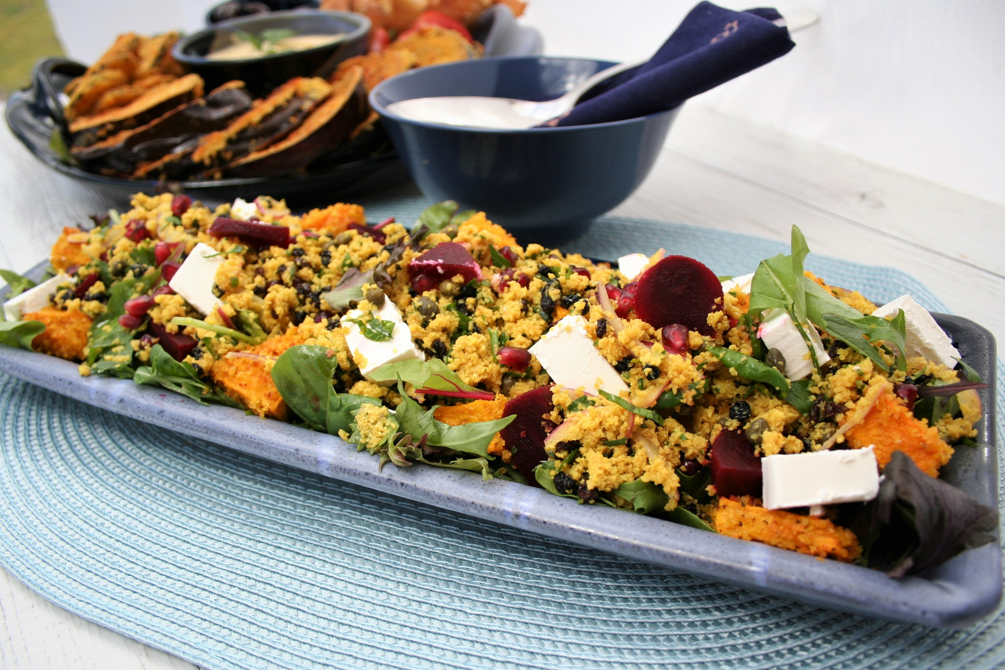 Moroccan Lupin salad  with Roast Pumpkin, Feta and Beetroot