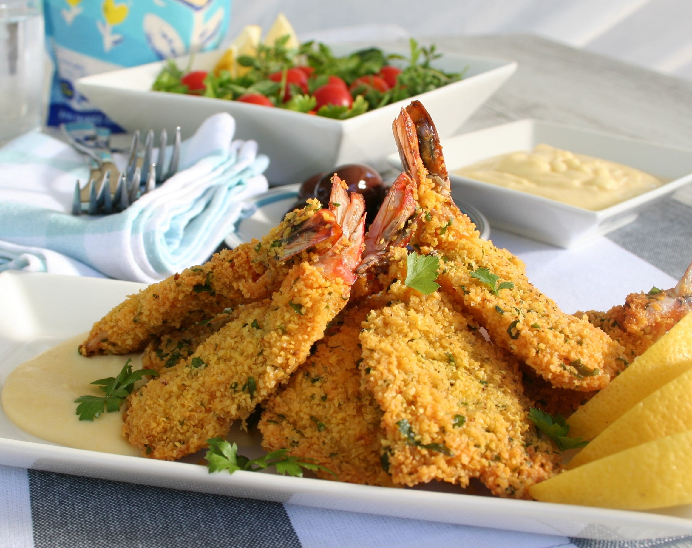 Lupin Crumbed Prawn Cutlets.