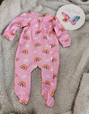 Footed Romper - dotty rainbows - pink