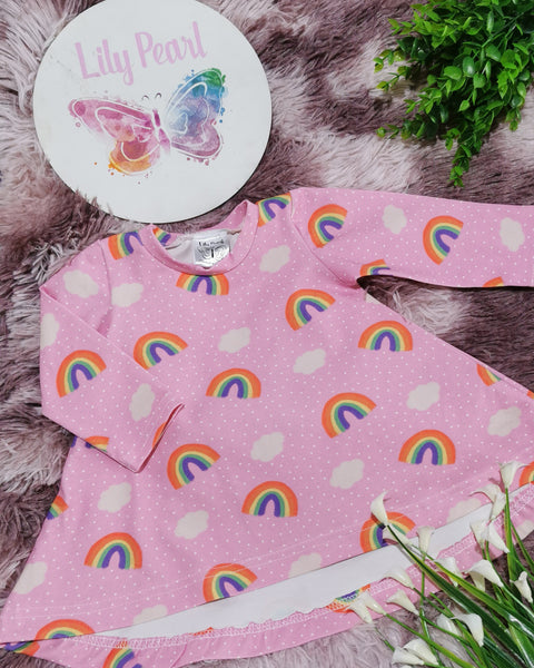 T-Shirt Dress - dotty rainbows pink