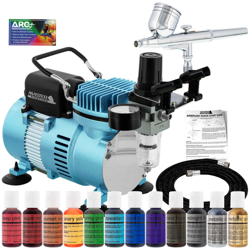 Cake Decorating Airbrushing System Kit with a 12 Color Chefmaster Food Coloring Set - G22 Gravity Feed Airbrush, Air Compressor, Guide Booklet
