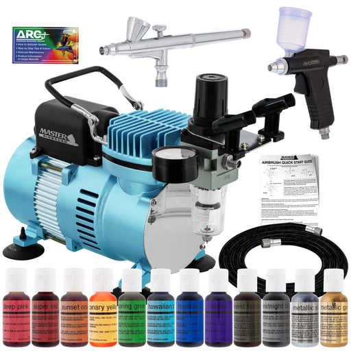 Super Deluxe Master Airbrush Cake Decorating Airbrushing System Kit with 2 Gravity Feed Airbrushes, Set of 12 Chefmaster Food Colors, Cool Runner II Dual Fan Air Compressor - How To Guide, Cupcakes