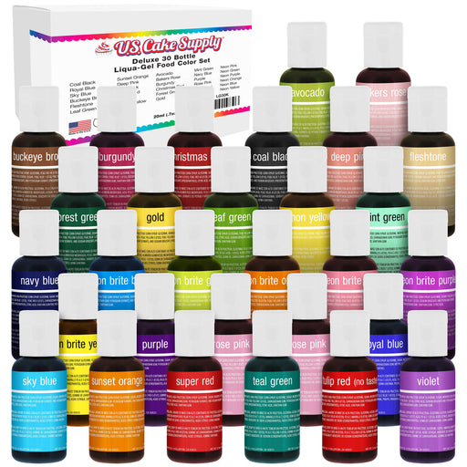 30 Color Cake Food Coloring Liqua-Gel Decorating Baking Deluxe Set - 0.75 fl. oz. (20ml) Bottles - Made in the U.S.A.