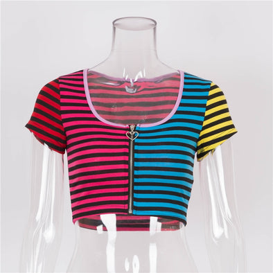 Rainbow Striped Crop Top - Threads Unknown