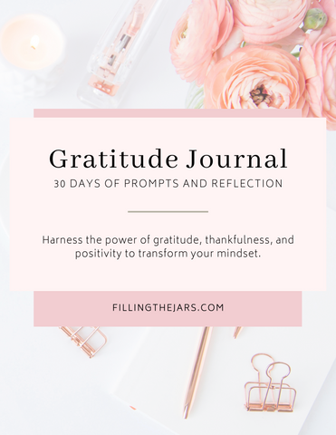 30-day printable gratitude journal cover in calm peach and pink color scheme