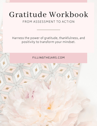 printable gratitude workbook cover in calm peach and pink color scheme
