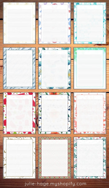 12 Assorted US Letter Size Printable Journal Pages *digital product*