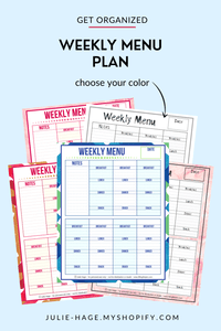 Weekly Menu Plan printable *digital product*
