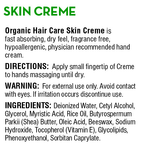 Skin Creme - Organic Hair Care Inc