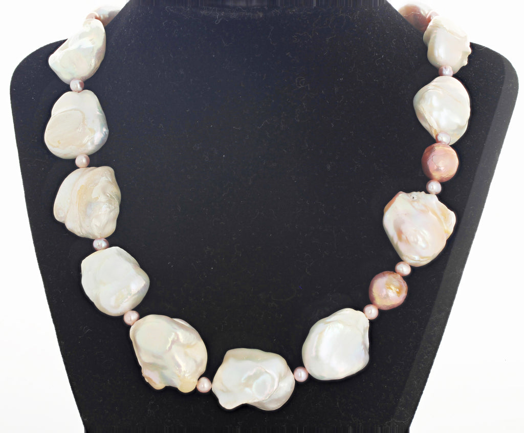 Cultured Glowing White and Pinkish Pearl Necklace