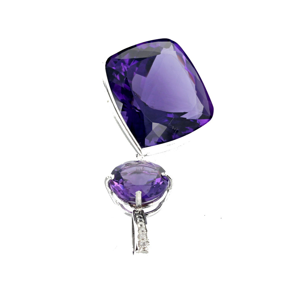 54.82 Carats of Amethyst and Diamond Sterling Silver Pendant