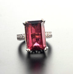 Huge 14 Carat Pinky-Red Tourmaline Sterling Silver Ring
