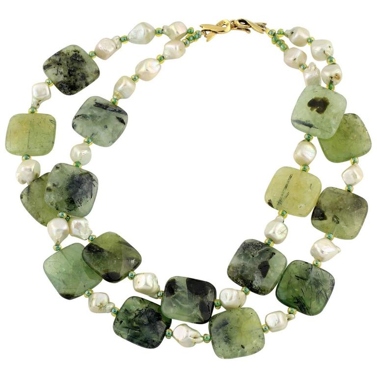 Natural Pearls and Prehnite Necklace