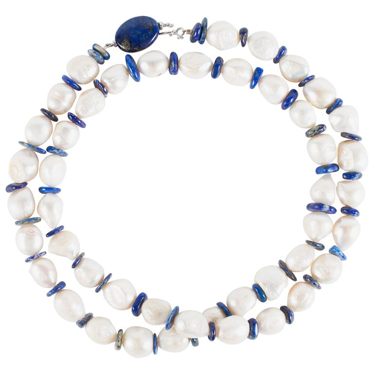 Gemjunky 31 Inch Pearl Necklace with Lapis Lazuli Disc Spacers