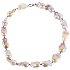 Gemjunky Baroque Pearl Necklace Silver/Mauve