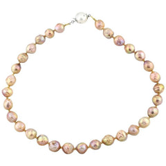 Pink gold glowing natural Pearl Necklace