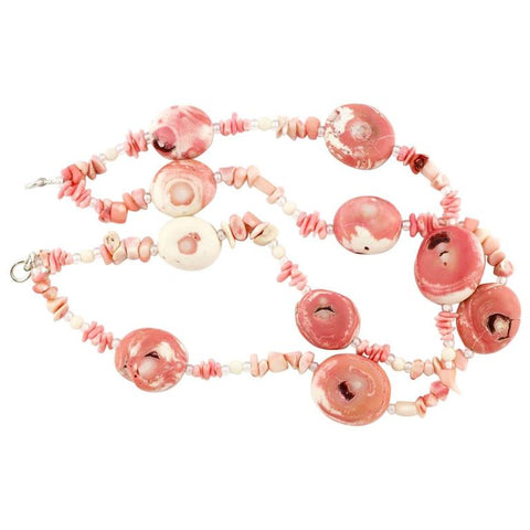 Pink White Natural Coral Sterling Silver Necklace