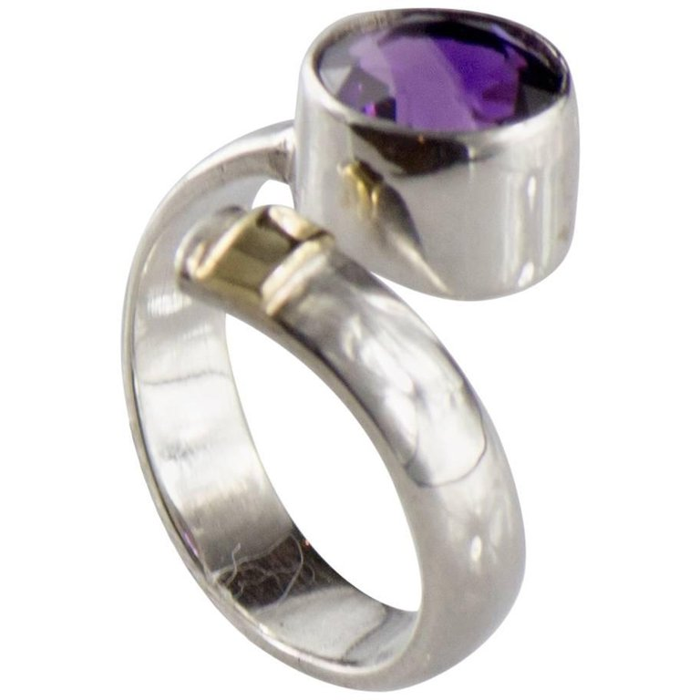 Crossover Amethyst and Sterling Silver Ring