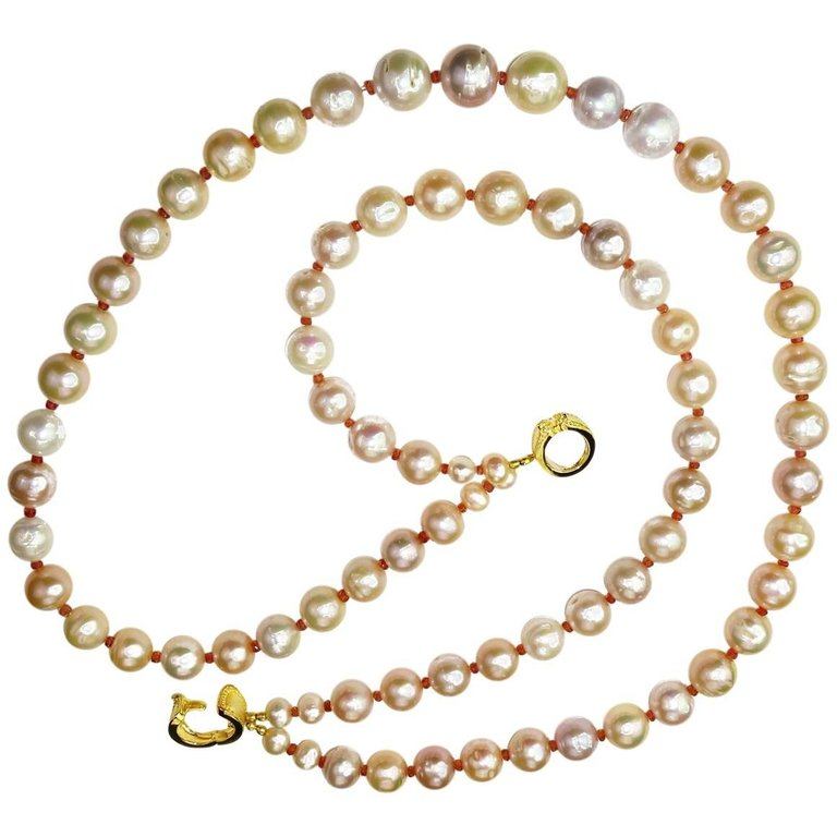 Gemjunky  Double Strand Necklace of Peachy Pearls with Orange Sapphires