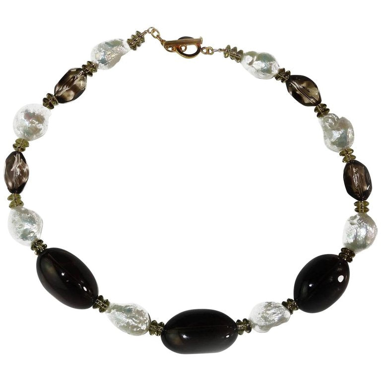 Gemjunky  Baroque Pearl and Smoky Quartz Cocktail Necklace