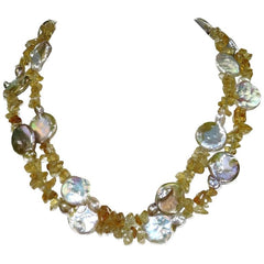 Two strand Coin Pearl and Citrine Necklace