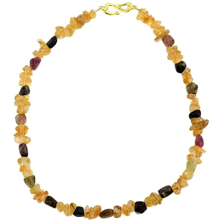 Citrine and Tourmaline Beach Necklace