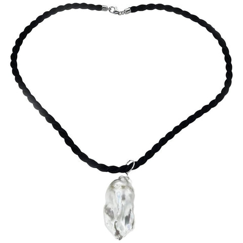 Baroque Pearl Pendant on Black Cord