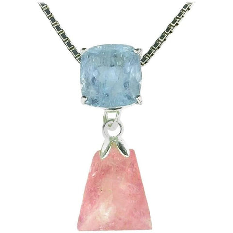 Aquamarine and Morganite Sterling Silver Cocktail Pendant