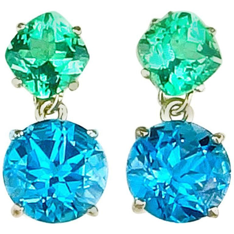 Apatite and Blue Topaz Sterling Silver Stud Earrings