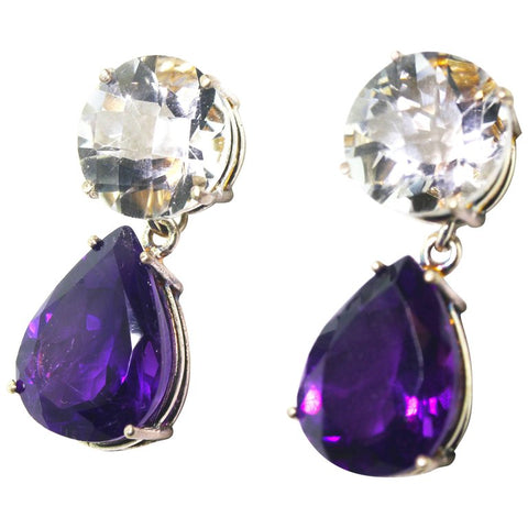 Silvery White Quartz and Amethyst Sterling Silver Stud Earrings