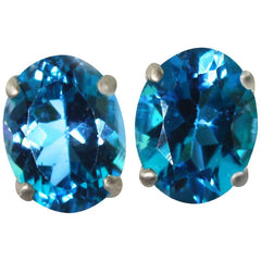 Blue Topaz Sterling Silver Stud Earrings