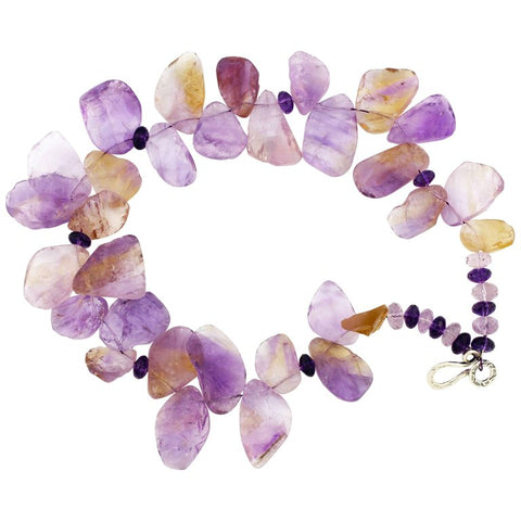 Amethyst and Ametrine Necklace With Sterling Silver Clasp