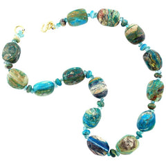 Natural Blue Peruvian Opal Necklace with Gold-Plated Clasp