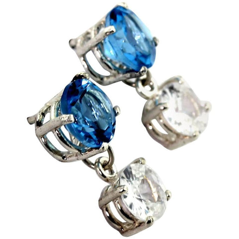 White Zircons dangle from Blue Topaz Sterling Silver Stud Earrings