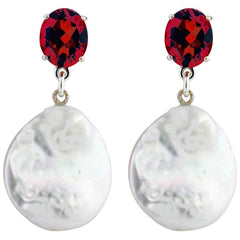 Red Garnet and White Coin Pearl Sterling Silver Stud Earrings