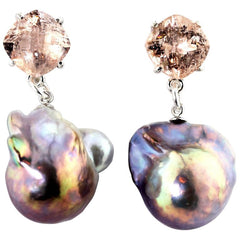 Morganite and Pearls Sterling Silver Stud Earrings