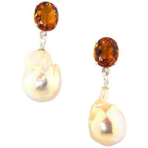 Citrine and Dangling Goldy Pearl Sterling Silver Stud Earrings