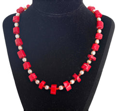 Unique Coral and Pearl Necklace