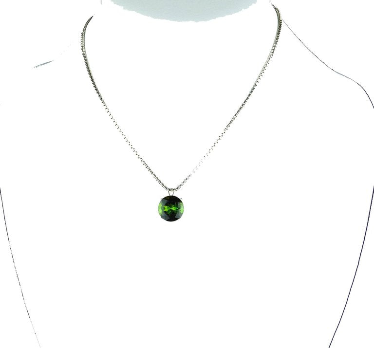 Brilliant Green Tourmaline Sterling Silver Pendant