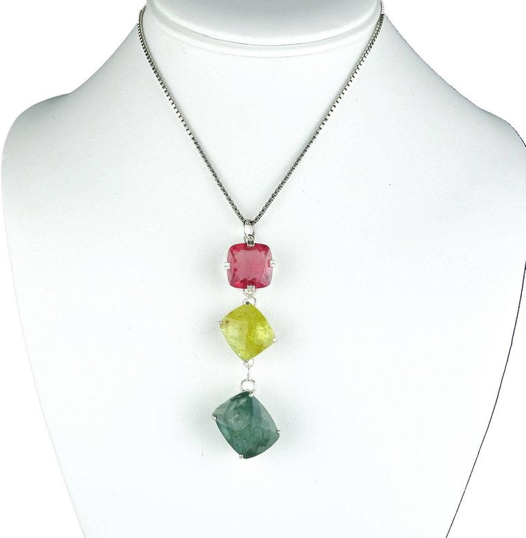 Peachy Pink, Yellow, Bluegreen Tourmaline Sterling Silver Pendant