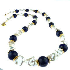 Gemjunky  Summer Resort Pearl and Lapis Lazuli Necklace