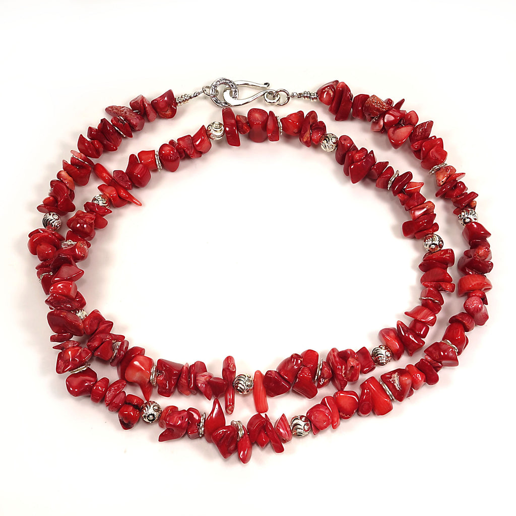 Gemjunky  Red Coral Necklace with Silver accents