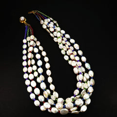 Five Strand Pearl Necklace with Multi Color Beads