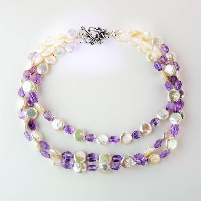 Triple Strand White Coin Pearl and Lilac Amethyst Necklace  February Birthstone