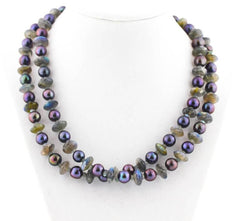Stunning Aubergine Pearl Necklace with sparkling Labradorites