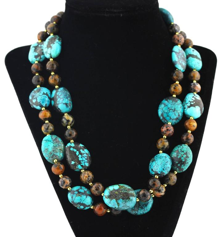 Natural Turquoise and Natural Jasper Necklace