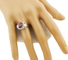 Brilliant Red Zircon and Pearl Ring