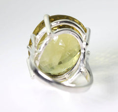 Glittering Lemon Quartz Silver Ring