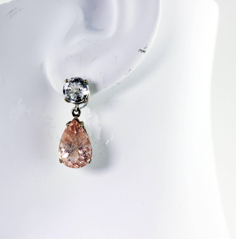 White Zircon and Krinkle Morganite Sterling Silver Stud Earrings